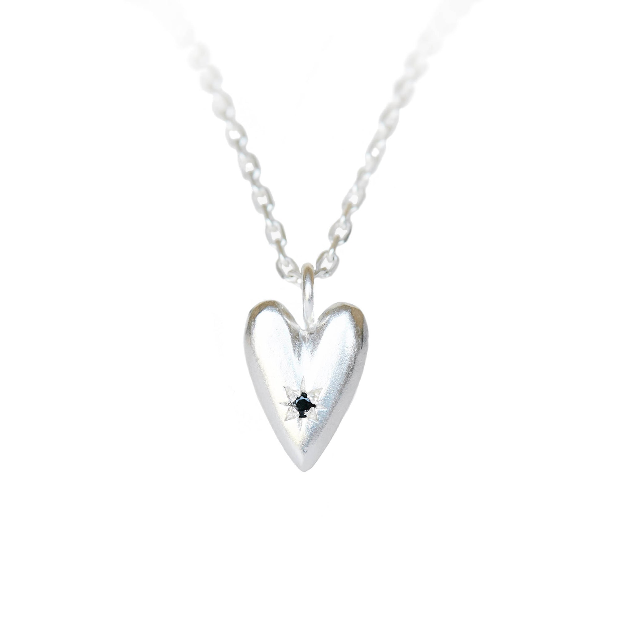 The Black Spinel Heart Pendant in Silver