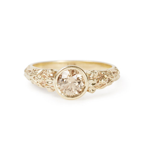 Golden Rising Sun Diamond Ring