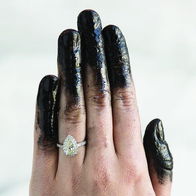 Pear Cut Halo Ring-Ring-Black Betty Design