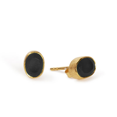 The Oval Stone Studs-Earrings-Black Betty Design