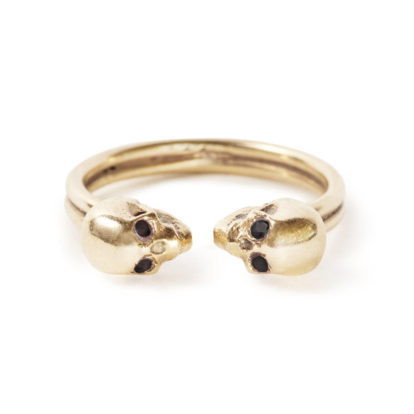 The Gold Kissing Skull Ring With Diamond Eyes