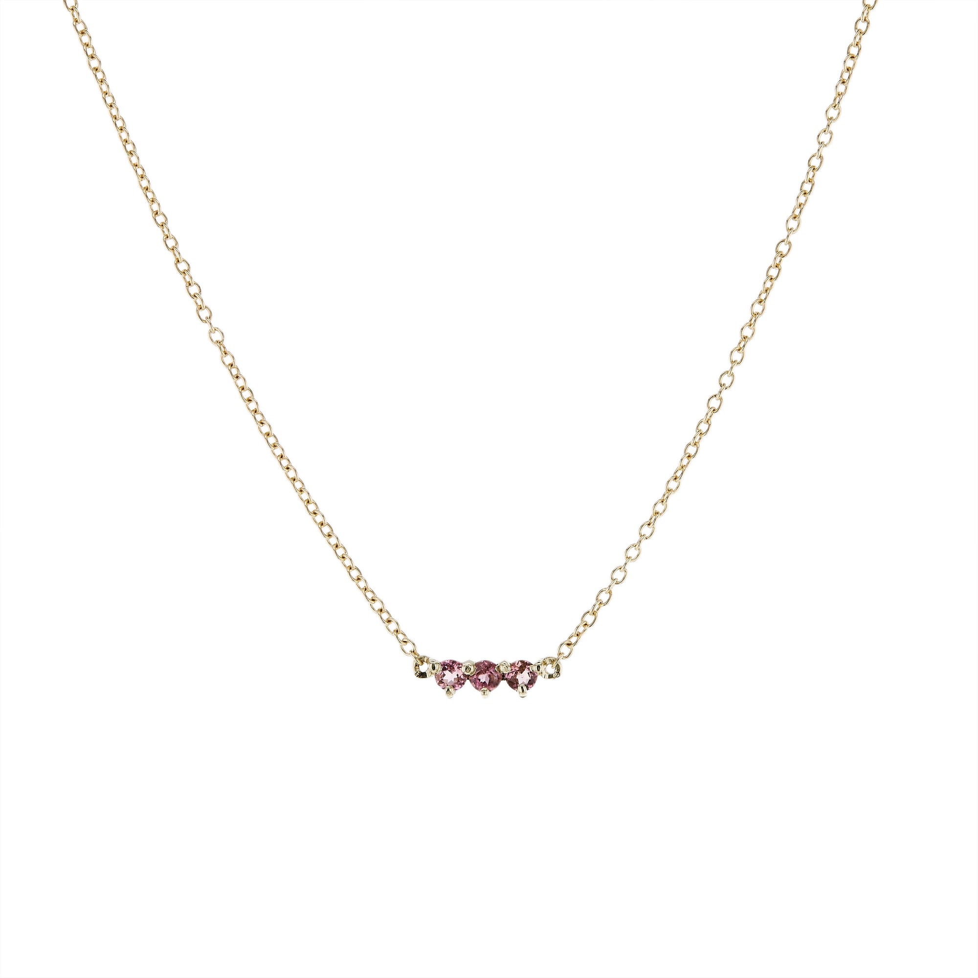 The Little Tri Pink Tourmaline Choker in 9kt Gold