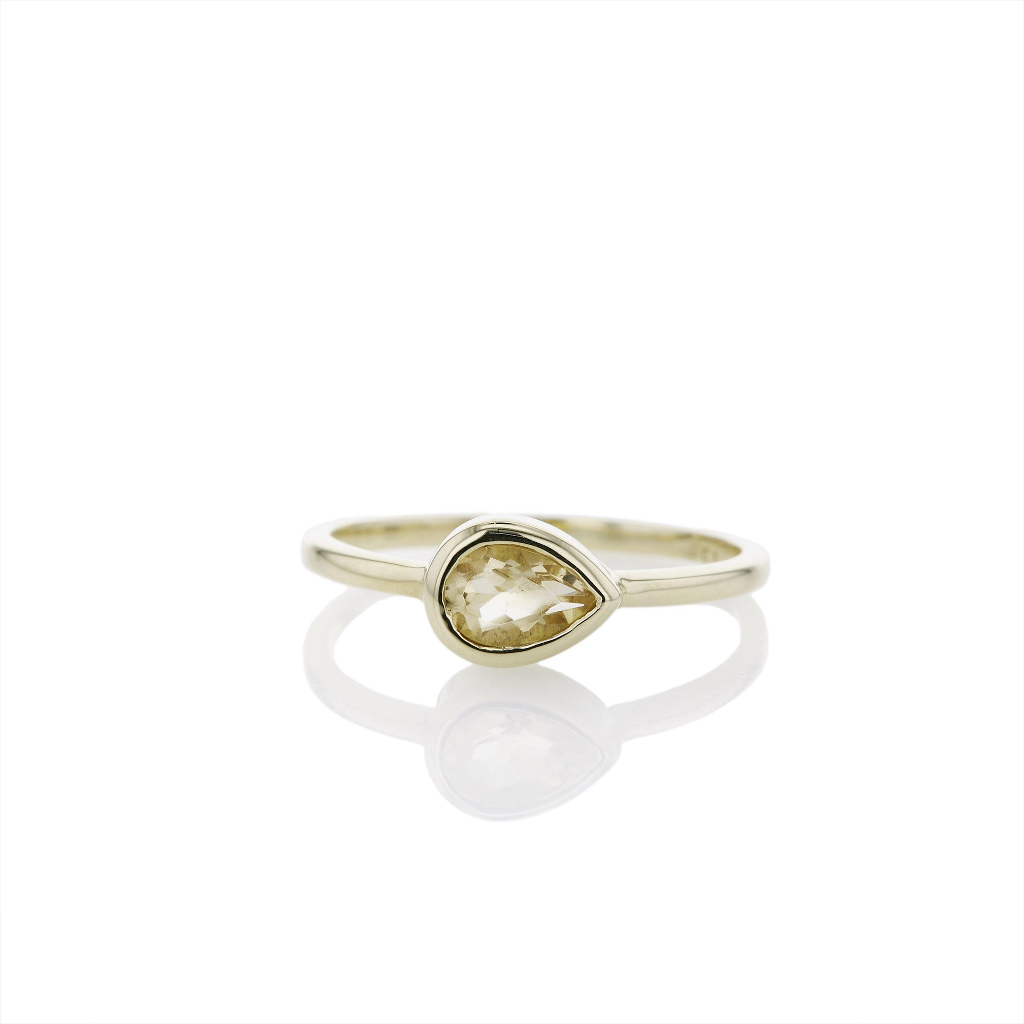 The Pear Cut Citrine Stacker in 9kt Gold