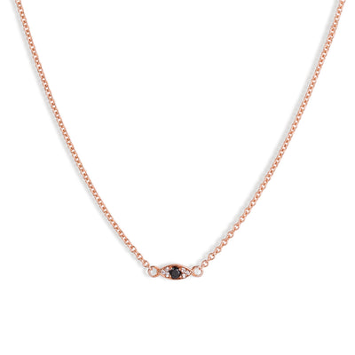 The 9kt Rose Gold Mini Evil Eye Choker-Necklace-Black Betty Design
