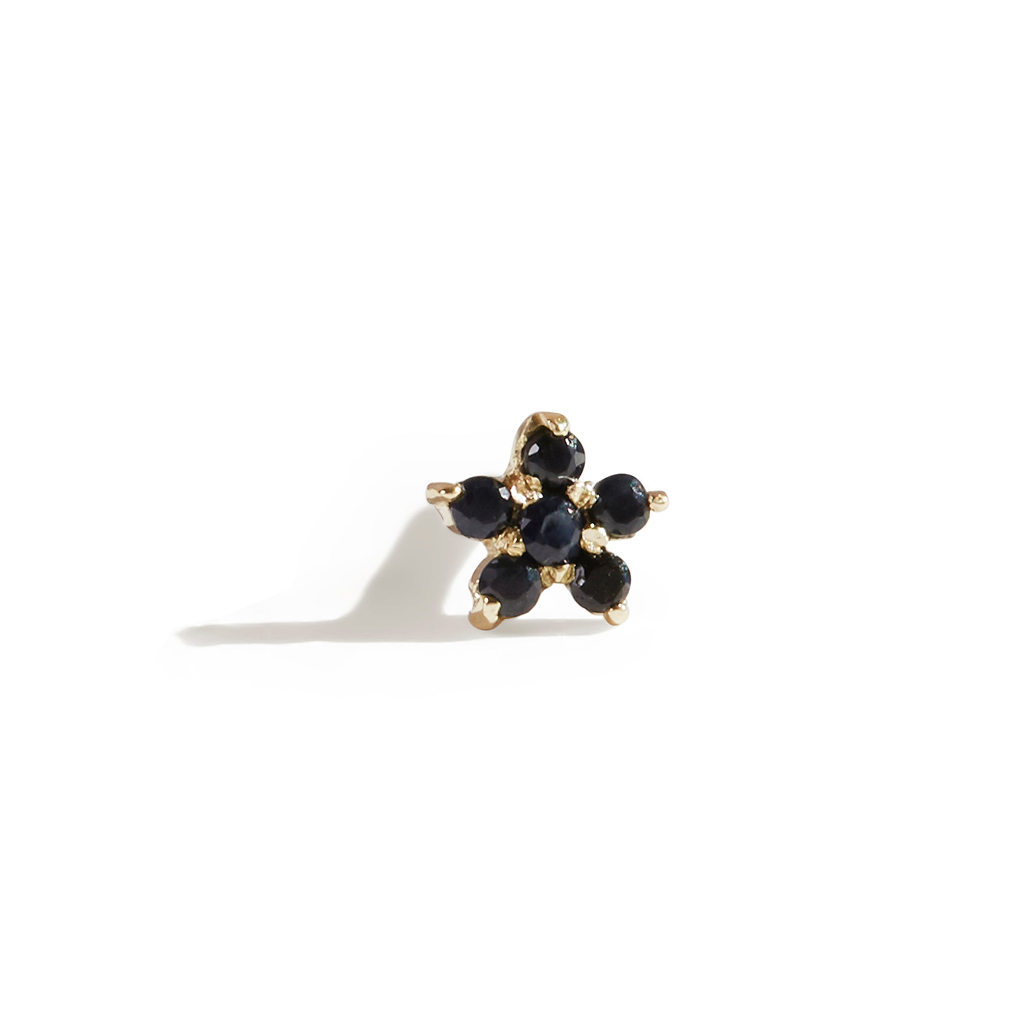 The Black Sapphire Flower Stud in 9kt Gold