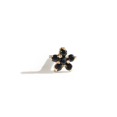 The Black Sapphire Flower Stud in 9kt Gold-Earrings-Black Betty Design