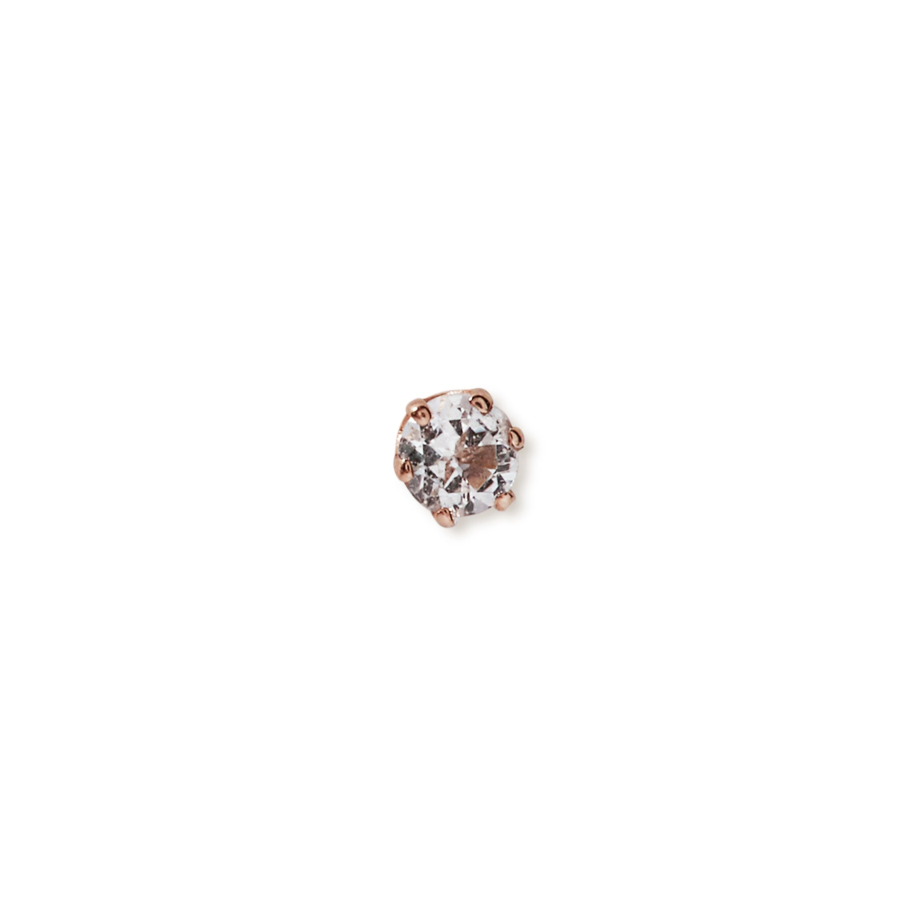 The Mini Prong Set Stone Stud in 9kt Rose Gold-Earrings-Black Betty Design