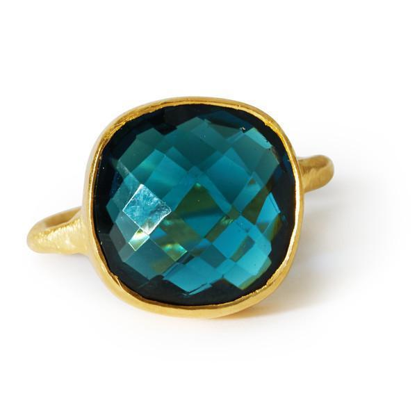 The Brushed Square Stone Ring