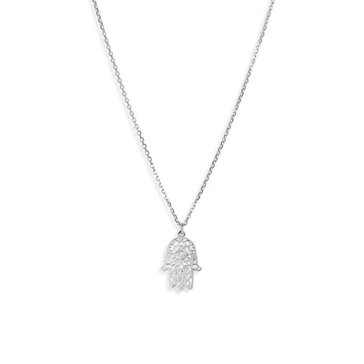The Silver Hamsa Hand Necklace-Necklace-Black Betty Design