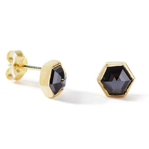 The Black Diamond Hexagon Studs