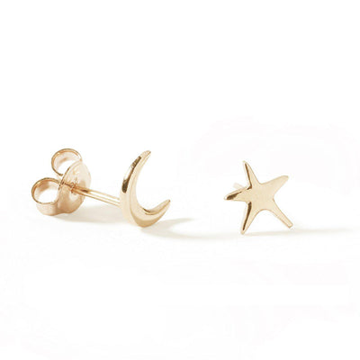 The Yellow Gold Star Stud - Single-Earrings-Black Betty Design