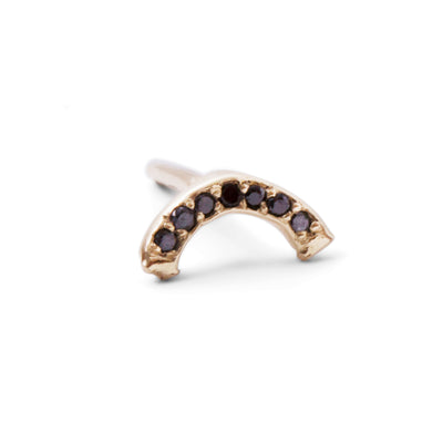 The Black Diamond Rainbow Stud in 9kt Gold-Earrings-Black Betty Design