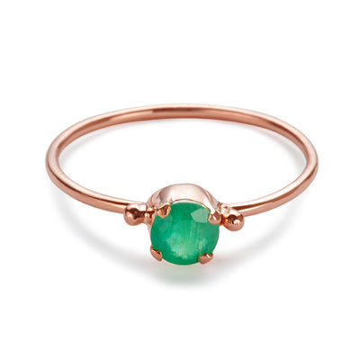 The Skinny Joy Emerald Ring in Rose Gold-Ring-Black Betty Design