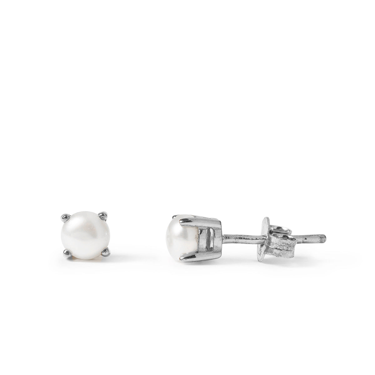 The Skinny Joy Pearl Studs in Silver-Earrings-Black Betty Design