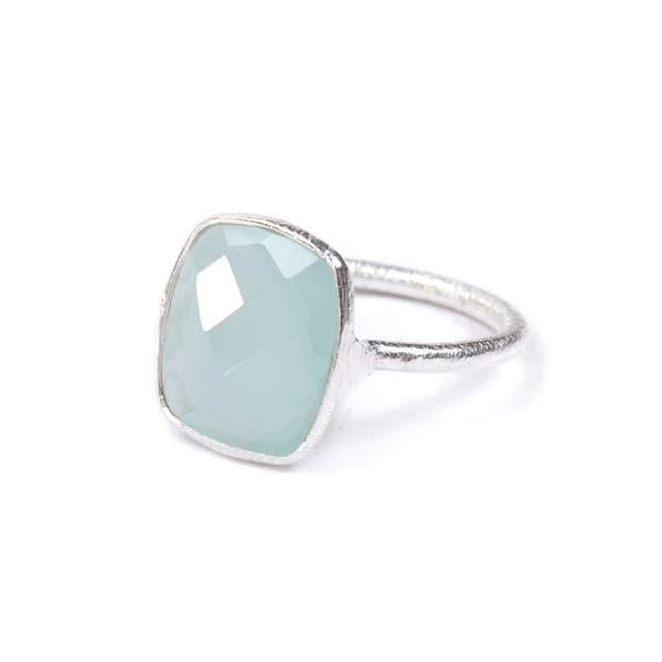 The Raised Rectangle Stone Ring in Silver