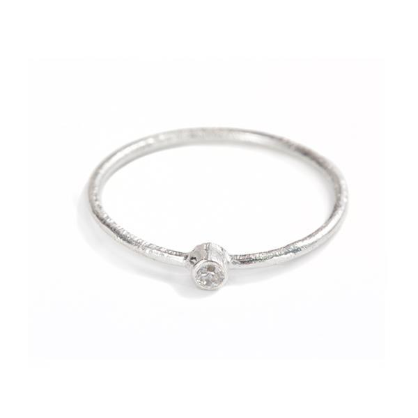 The Mini Stone Stacking Ring in Silver