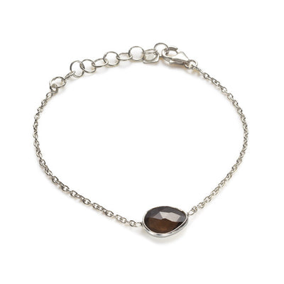 The Faceted Stone Bracelet in Silver-Bracelet / Bangle-Black Betty Design