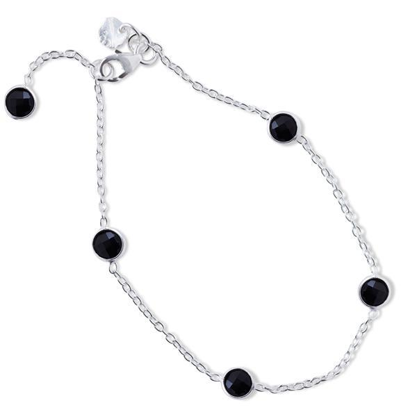 The Five Stoned Bracelet in Silver-Bracelet / Bangle-Black Betty Design