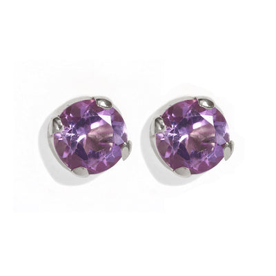 The Skinny Joy Amethyst Studs in Silver-Earrings-Black Betty Design