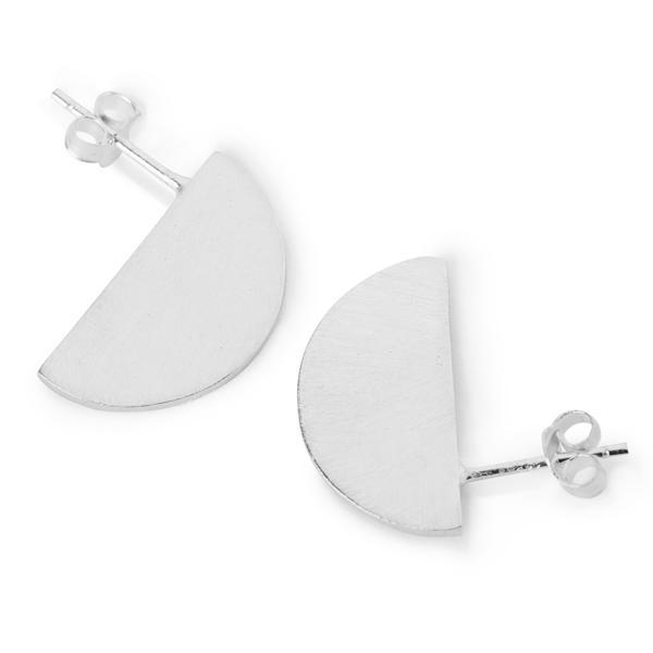 The Half Disk Stud in Silver-Earrings-Black Betty Design