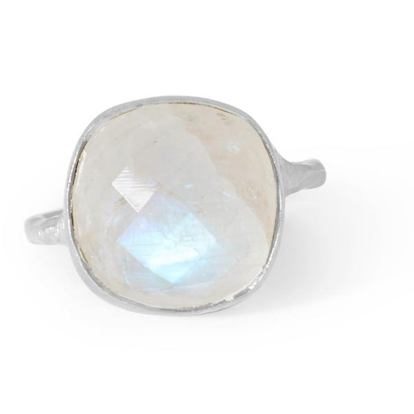 The Brushed Square Stone Ring in Silver