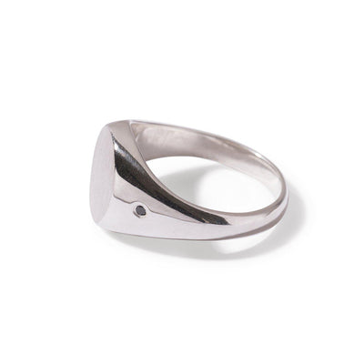 The Black Diamond Oval Signet Ring in Silver-Ring-Black Betty Design