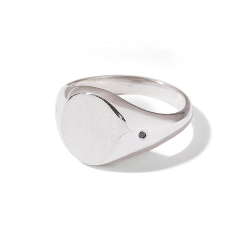 The Black Diamond Oval Signet Ring in Silver