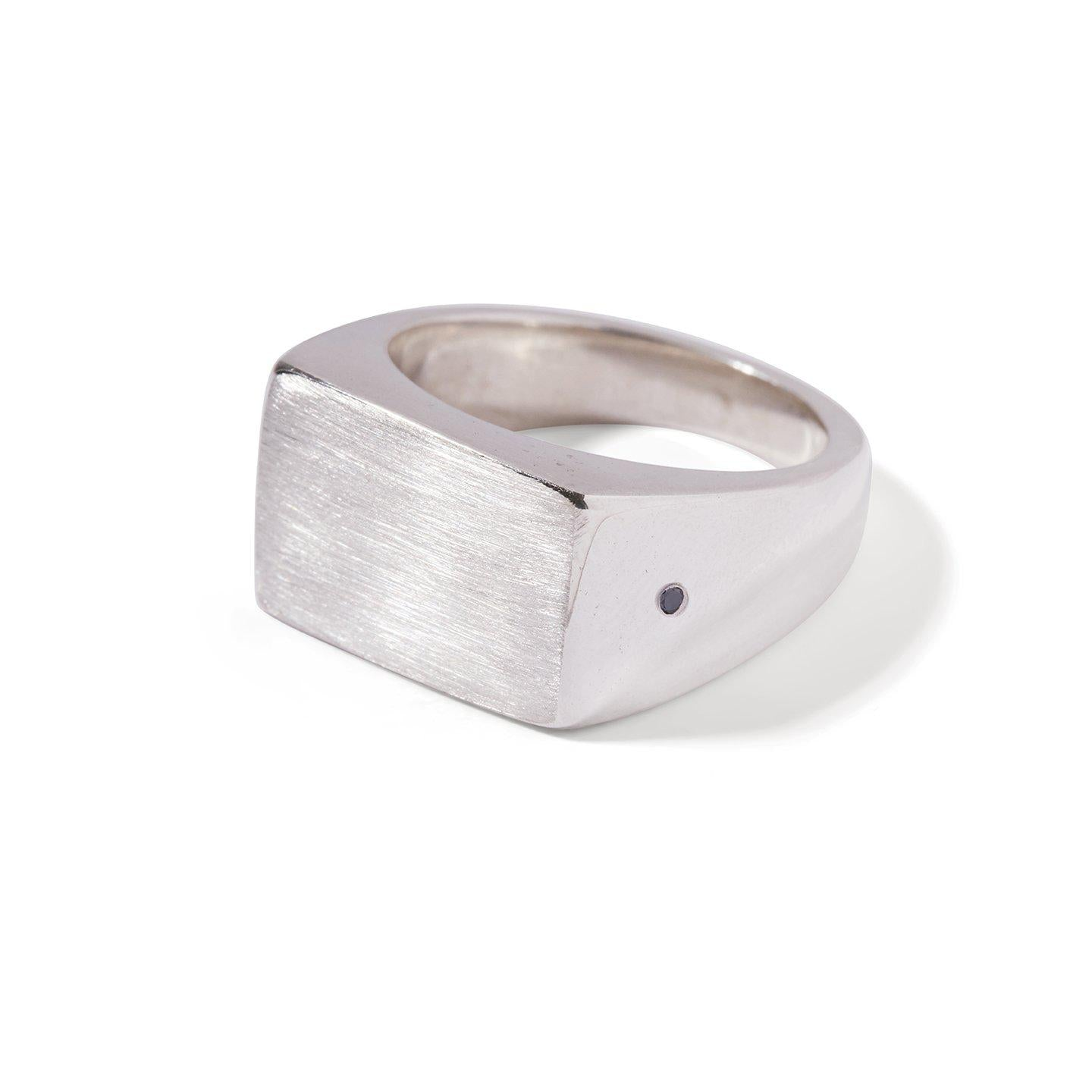The Black Diamond Rectangle Signet Ring in Silver-Ring-Black Betty Design
