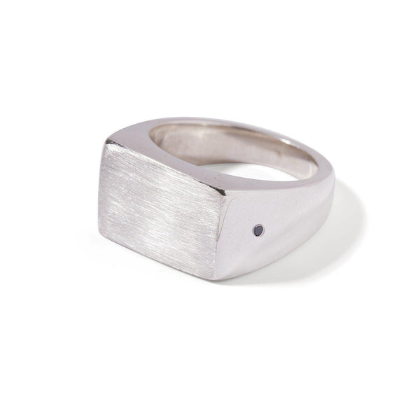 The Black Diamond Rectangle Signet Ring in Silver