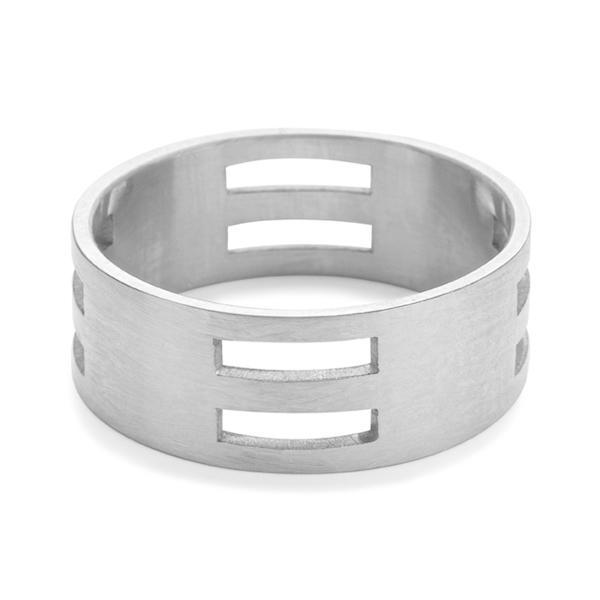 The Woven Block Ring in Silver-Ring-Black Betty Design
