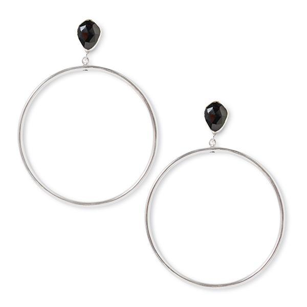 The Stoned Hoop Earrings in Silver-Earrings-Black Betty Design