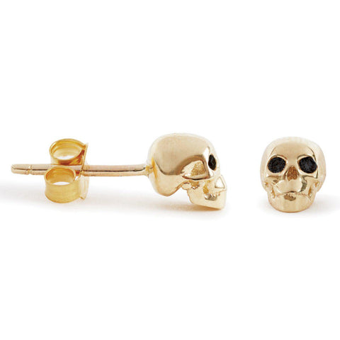 The Gold Skull Studs With Diamond Eyes