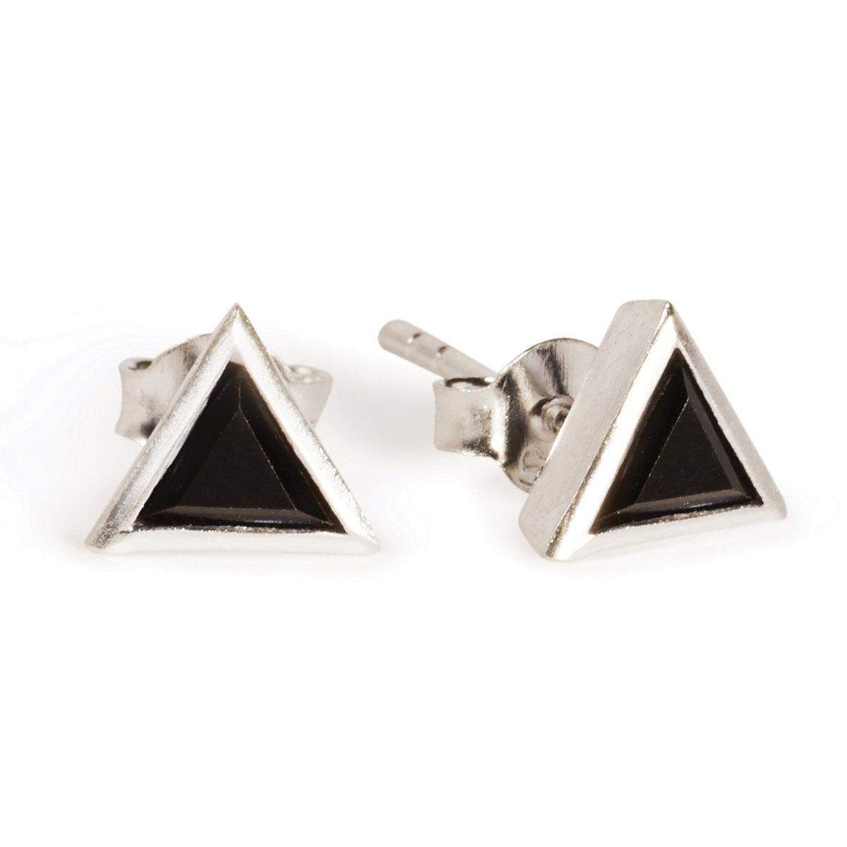 The Summer Triangle Studs In Silver-Earrings-Black Betty Design