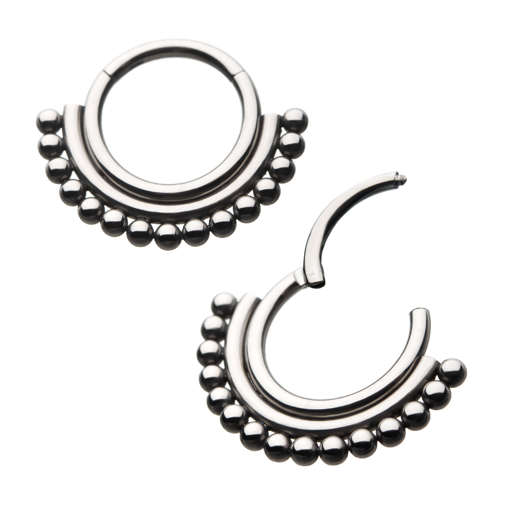 Titanium 15 Beaded Hinged Segment Ring (1.2mm x 8mm)-Labrets & Piercing-Black Betty Design