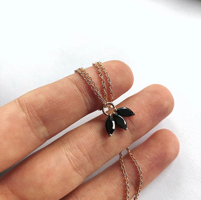 The Tri Spinel Marquise Necklace in 9kt Rose Gold-Necklace-Black Betty Design
