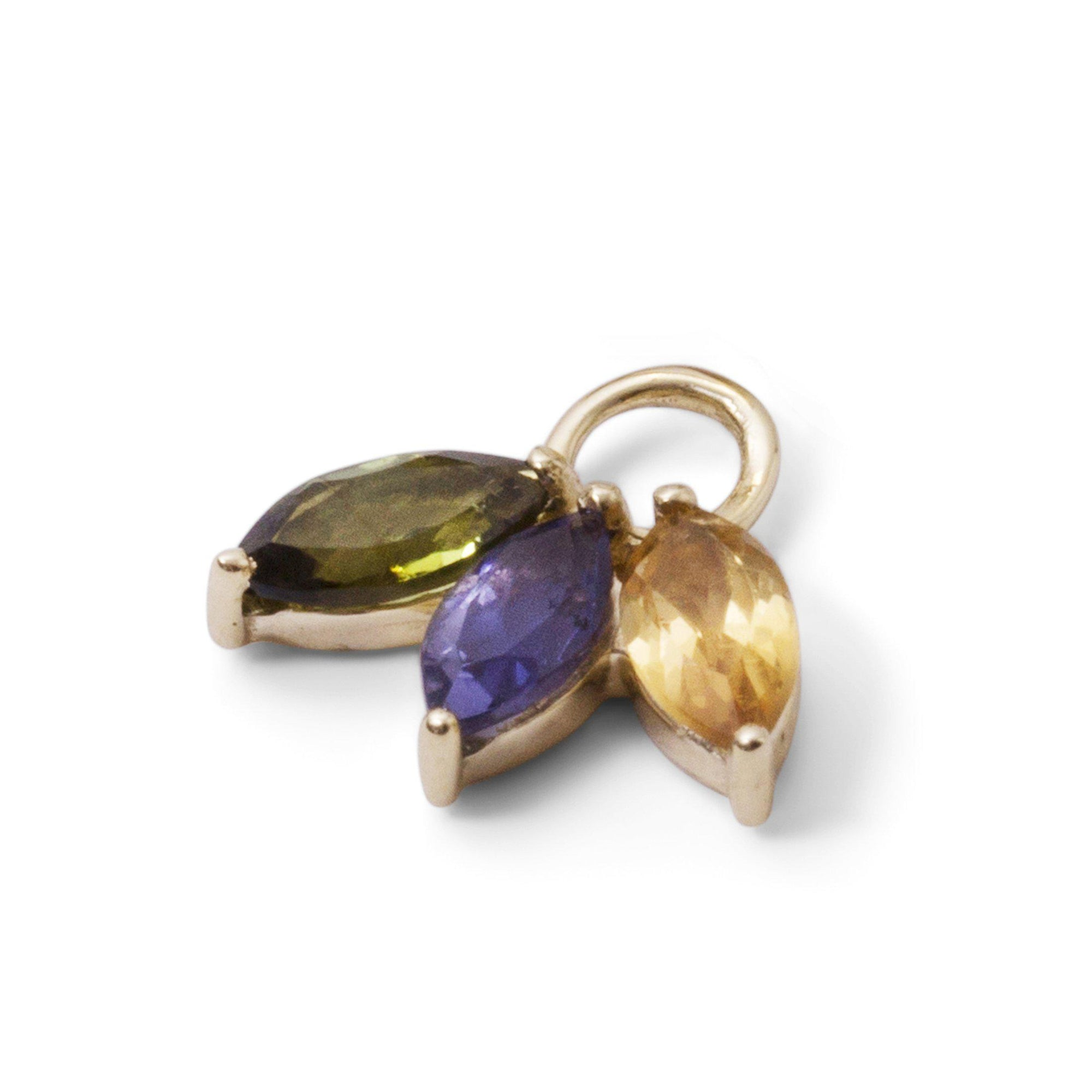 The Tri Mixed Marquise Charm in 9kt Gold