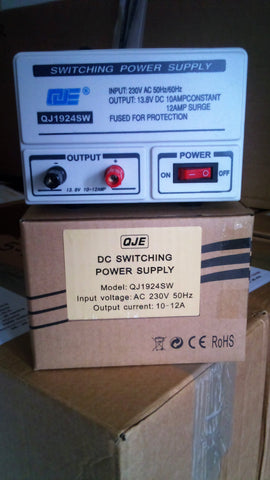 QJE QJ1924SW 10 -12amp 240v 12v DC Power Supply