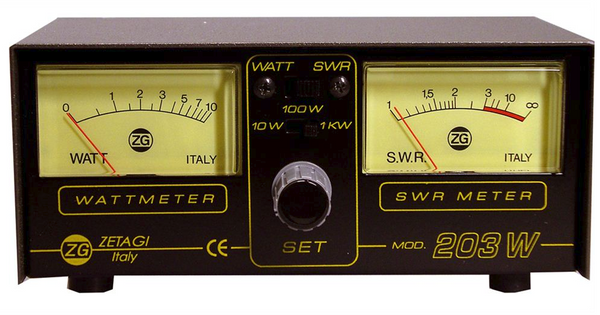 Zetagi 203 swr/watt meter 3-200mhz & 1 x 24 inch mini8 patch lead