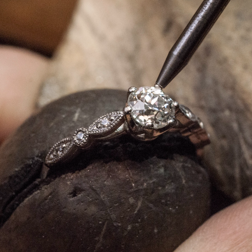 leaf & scroll engravedArt Deco Diamond Engagement Ring | The Croft Workshops