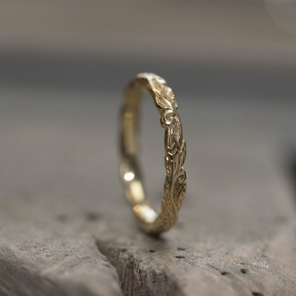 Narrow Leaf and Vine Scrolls Ring - 9ct Rose Gold  - Andrew Ashcroft