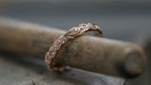 Narrow Leaf and Vine Scrolls Ring - 18ct Rose Gold