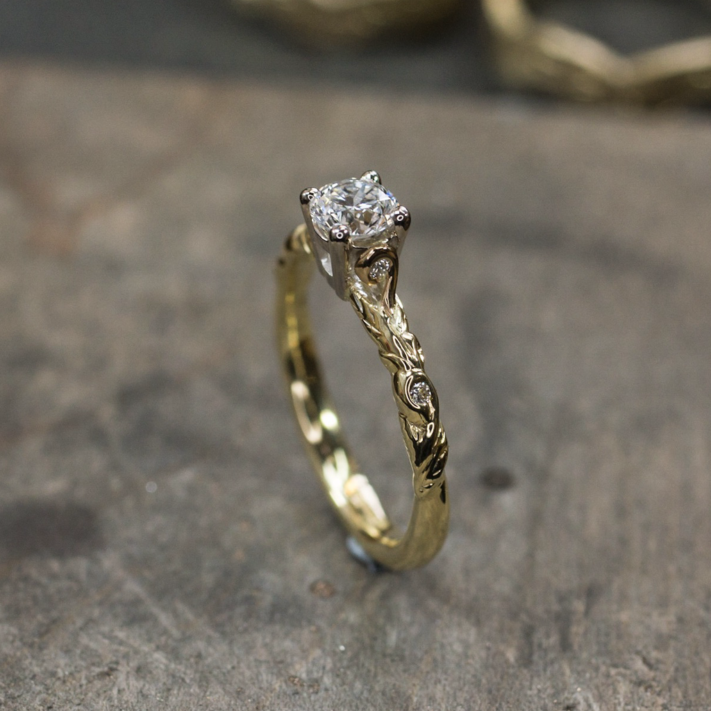 Leaf & Scroll Diamond Encrusted Engagement Ring | The Croft Workshops