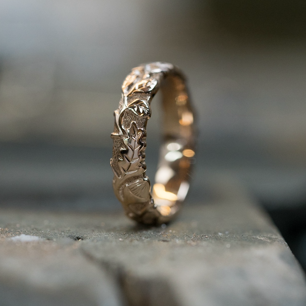 Beech & Oak Leaf Ring - 9ct Rose Gold | Andrew Ashcroft