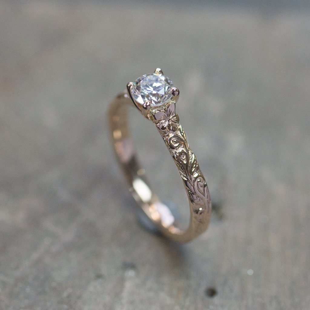 Hibiscus Flower and Leaf Diamond Engagement Ring | The Croft Workshops
