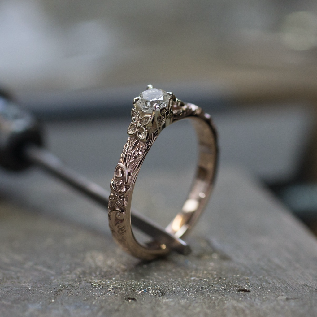 Floral Encased Diamond Engagement Ring | The Croft Workshops