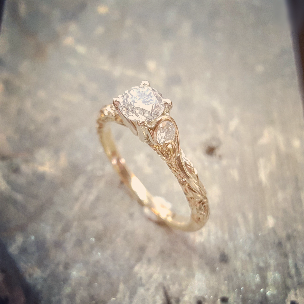 Handmade Leaf & Scroll Diamond Engagement Ring | The Croft Workshops