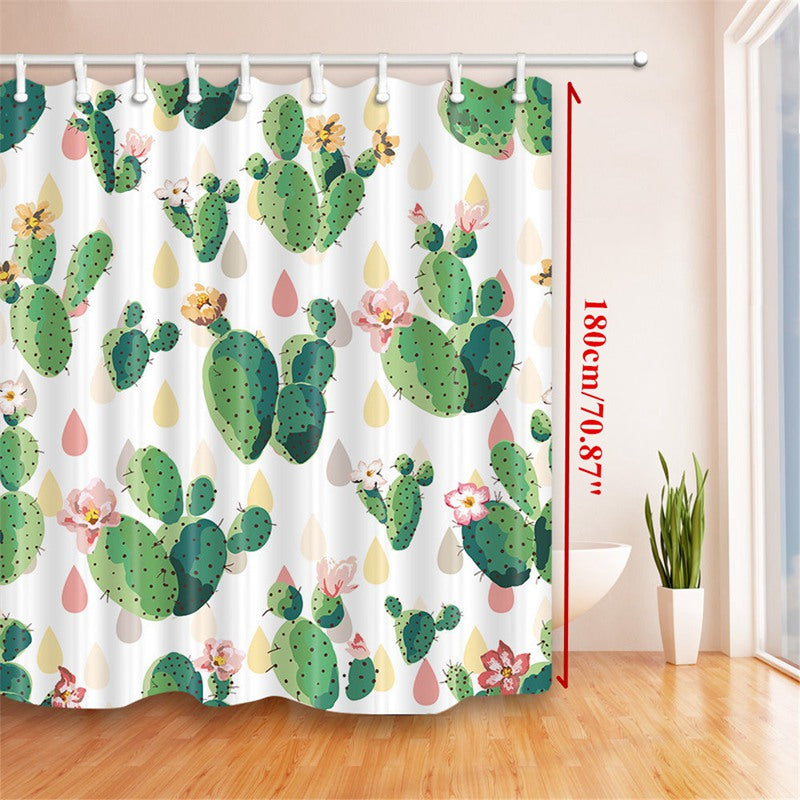 Cactus Flower Shower Curtain Bathroom Waterproof Polyester Fabric ...
