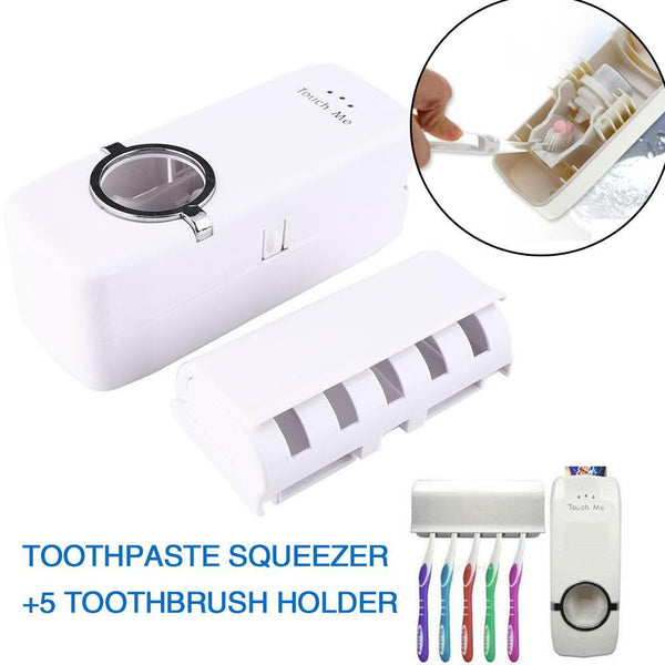 Automatic Toothpaste Dispenser Set White Tooth Brush Holder