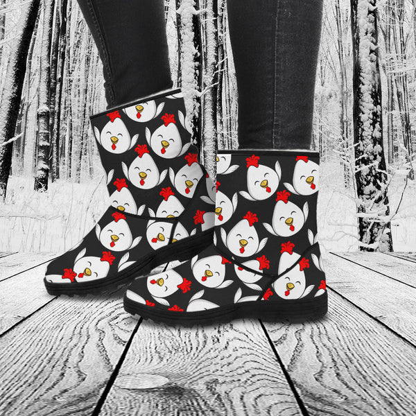 I Love Chickens Print Faux Fur Boots