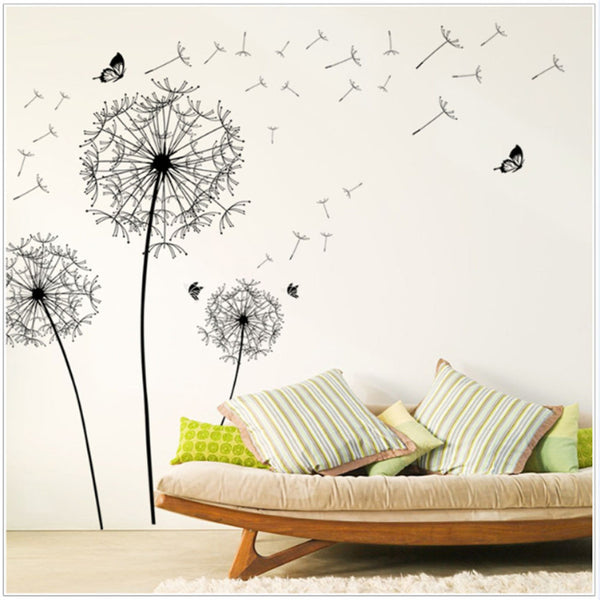 DIY Make A Wish Large Black Dandelion Wall Sticker